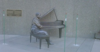 Oscar Peterson Statue outside the National Arts Centre in Ottawa