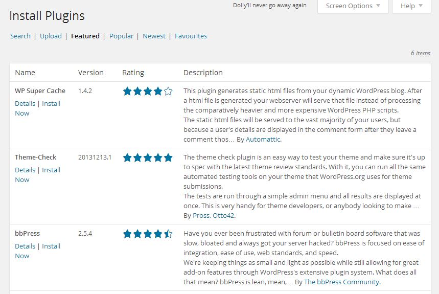Add Plugin Screen from WordPress 3.9.2