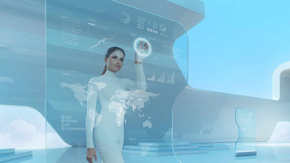 Woman touching a futuristic looking computer interface