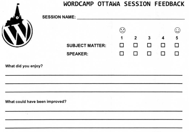 Improving Session Feedback at WordCamp Shawn Hooper WordPress – Speaker Feedback Form