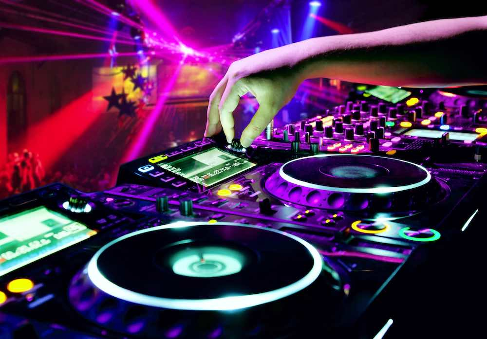 Close-Up of DJ equipment in a nightclub