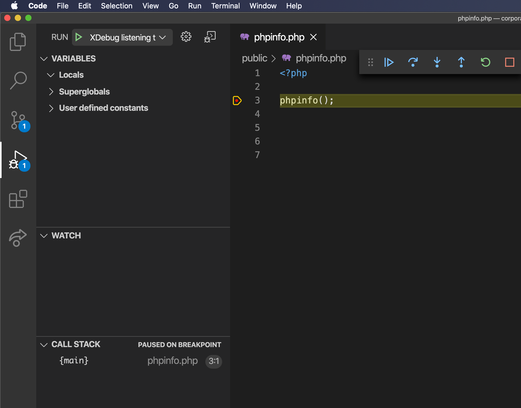 Screenshot of the VS Code Debugger